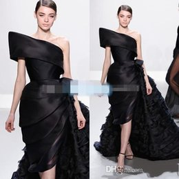 Wholesale Celebrity Black Dresses One Shoulder - 2016 Ralph&Russo Black Ruffle Runway Fashion Evening Dresses One Shoulder Pleats Chapel Train Custom Made Celebrity Prom Gowns Plus Size