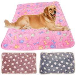 Wholesale Bedding Accessories - Hot 60*40cm Pet Blankets Paw Prints Blankets for pet cat and dog Soft Warm Fleece Blankets Mat Bed Cover IB305