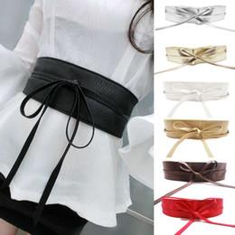 Wholesale Wide Brown Waist Belts - Wholesale-New Fashion Women belt Soft Leather Wide Self Tie Wrap Around Waist Band Dress Belt Y1