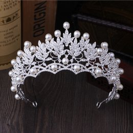 Wholesale Crystals Diamond Stones - Korean large pearl crown high-grade super flash diamond tiara bride marriage yarn dress accessories jewelry crown