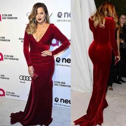 Wholesale Khloe Kardashian Evening Dresses - Oscar Khloe Kardashian Wine Red Velvet Plus Size Formal Evening Dresses 2016 Plunging Neckline Sheath Celebrity Party Gowns Red Carpet Dress