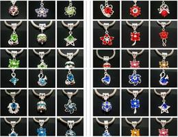 Wholesale European Blue Rhinestones - 50PCS Mixed Fashion European Crystal Rhinestone Silver Plated Pendant Charm Fit European Bracelet and Necklace hole size 5mm
