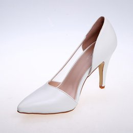 Wholesale Satin Champagne Heels Evening - Fashion Simple Office Career Women's Party Evening Wedding Bridal Shoes 9CM Heels PU Grid White Black Apricot Shoes for Women Pointed Toe