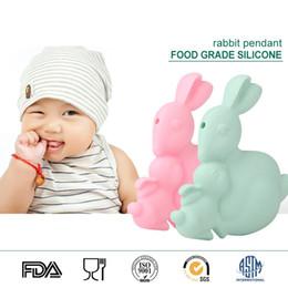 Wholesale Necklaces Bunny Rabbit - Baby Teethers Toy Bunny Silicone Pendant 100% Food Grade Silicone Sensory Beads Rabbit Silicone Teething Pendant Necklace