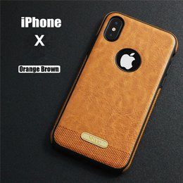 Wholesale Iphone Imitation - For Apple iPhone X 8 7 Plus TPU Soft Material Business Imitation Leather Goodtouch Feeling Back Cover Case For Samsung S8 S8 Plus