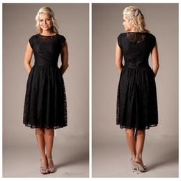 Wholesale Cheap Winter Dresses Online - Black Knee Length Lace Mother's Dresses Short Full Lace 2017 New Formal Women Dress Cheap Online Vestidos De Soiree