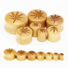 Wholesale Ear Tunnel Piercing Wood - 28 piece popular wood carved plugs piercing tunnels wooden plugs pot leaf body jewelry ear gauges 8mm-20mm