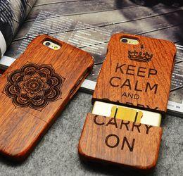 couverture en bois iphone 6s Promotion Etui sculpté en bois massif pour Iphone X Iphone 8 7 6 6s plus 5S SE Etui protecteur en bois Etui palissandre arrière Shell 2 pièces GSZ168