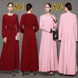Wholesale Mother S Dress Floor Length - 2018 Newest Middle East Vintage Long Sleeves Mother of Bride Groom Dresses Maxi Red Dubai Abaya Women Casual Party Gowns