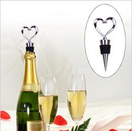 Wholesale Heart Shape Favor - Heart Shaped Wine Bottle Stopper Twist Wedding Favor Gifts New Arrival Wine Bottle Stopper Bar Tools Silver Color YYA302