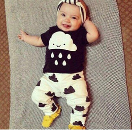 Wholesale Clouds Clothing - 2017 Summer baby clothing lovely cloud rains outfits Toddler clothes cotton short sleeve black white T shirts pants 2pcs sets wholesale