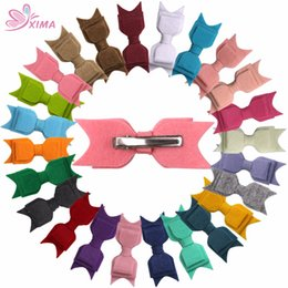 Wholesale Hair Fabric - XIMA 24pcs lot Fabric Hair Bows for Kids 3.5'' Layer Non-Woven Felt Fabric bow with Hair Clips Hair Accessories