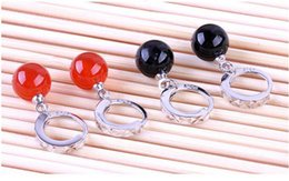 Wholesale Ear Cuffs For Sale - 10pcs lot Natural red   Black Agate 925 Sterling Silver Earrings Designed for elegant Women pearl Jewelry Gift box,Factory price sale