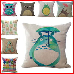 Wholesale Totoro Cushion Cover - 86 TYPE Anime chinchilla Totoro pillow Cases Cushion Cover Pillowcase linen cotton Home Soft Square Throw Pillow Case Christmas gift 240431
