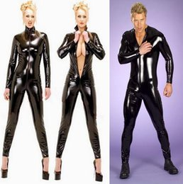 Wholesale Leather Bodysuit Women - Plus Big Size S-3XL Unisex Men Women Sexy Black Faux Leather Bodysuit Open Crotch Zipper Zentai Catsuit Wetlook Clubwear Superhero Cosplay