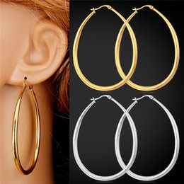 Wholesale Gold Faded Earrings - U7 Big Size Earrings Trendy Never Fade 316L Stainless Steel Fashion Jewelry Women Gift 18K Real Gold Plated Oval Hoop Earrings