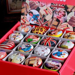 Wholesale Classic Wedding Favors - 48Pcs Retro classic pop elements grocery round boxes Tin pure color boxes Sweet box wedding candy box wedding favors mini case