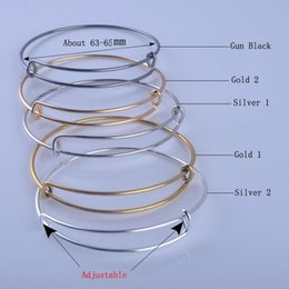 Wholesale Wholesale Gold Filled Wire - 12pcs lot Hotter Sale Charms Bracelets Bracelets Silver Plated and Gold Plated Adjustable Expandable Wire Cuff bangles