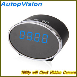 Wholesale Iphone Hidden Camera - 1080P HD Wireless WiFi Hidden IP Camera Clock & DVR For Android & iPhone Night Vision Oval Shape
