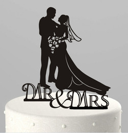 Wholesale Pet Acrylic - 10 Kind Design Black Acrylic Funny Bride Groom Mr Mrs Love Cake Topper Pet Dog Wedding Cake Toppers Wedding Party Supplies 2pcs