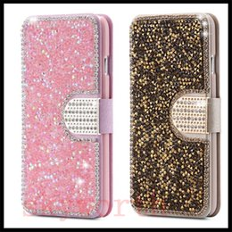 Wholesale Wholesale Flip Rhinestone Cases - Luxury Full Body Bling Diamond Flip Leather Wallet Case Silk Pattern Card Slot Stand Cover For iPhone 5s 6s Plus Samsung S6 S7