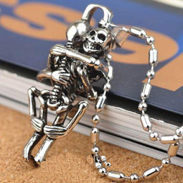 Wholesale Infinity Heart Pendant - Hot Men Infinity Tibet Silver Black Stainless Steel Skull Pendant Chain Necklace fine jewelry free shipping