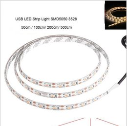 Wholesale background cool - 5V USB Cable LED Christmas stripe light lamp SMD3528 5050 50cm 1m 2m 5m led Flexible Strip Light TV Background Lighting