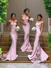 Wholesale Satin Slim Bridesmaid Dresses - Popular Pink Lace Bridesmaid Dress 2016 Spaghetti Straps Slim Long Sweetheart Wedding Party Gown Sweep Train Sexy Brautjungfernkleid