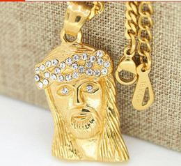 "Wholesale Lab Diamond Pendant - 18K Gold Plated Iced Out Lab Simulated Diamond Mini Micro Jesus Piece Pendant Necklace and 24"" 27.5"" Cuban Chain Hiphop Necklace"
