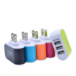Wholesale Iphone Wall Charger Dhl - Wall charger Travel Adapter For Iphone 6S Plus Colorful Home Plug LED USB Charger For Samsung S6 3 ports usb charger DHL Free