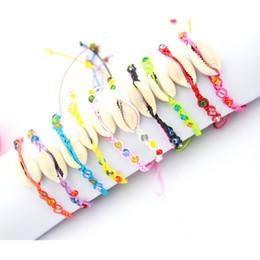 Wholesale Heart Bead Shell - Colorful Sea Shells Conch and Arylic Beads Hemp Friendship Bracelet Handmade Woven Hippie Bracelets for best friends