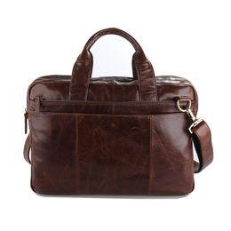 Wholesale Laptop Md - Wholesale- Vintage Genuine Leather Men's Briefcase Laptop Business Case Cow Leather Messenger Bags Men Shoulder Bag Crossbody Bag #MD-J7092