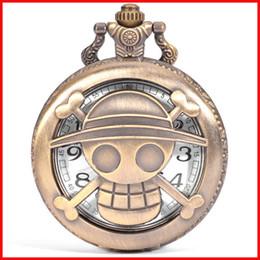 2019 mono de una pieza Vintage One Piece reloj de bolsillo de bronce pirata Mono D Luffy cráneo colgantes hombres mujeres cuarzo relojes regalo de cumpleaños 230148