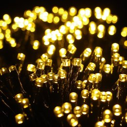 Wholesale Garland Lamps - Wholesale-100 LED Outdoor Colorful Solar Lamps LED String Lights Fairy Holiday Christmas Party Garlands Solar Garden Waterproof Lights