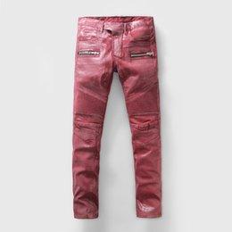 Wholesale Cheap Plaid Pants For Men - Cheap Mens Balmain Jeans Punk Skinny 2016 Runway Distressed Elastic Zippered Pocket Jeans Denim Biker Hiphop Pants Jeans For Men