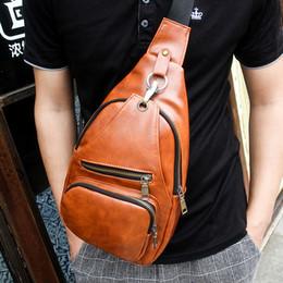 Wholesale Mens Fashion Shoulder Bags - Wholesale-2015 Fashion Mens Chest Bag,goat skin Sport Outdoor Shoulder bag, Black Yellow Brown Crossbody bag messenger bag Free Shipping