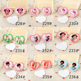Wholesale Mixed Resin Flat Backs - 90pcs lot 35MM*32MM fashion DIY accessories heart shaped flat back planar resin princess and cartoon characters 9 styles mixed