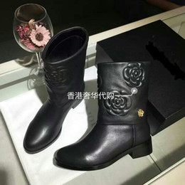 Wholesale Floral Boots - Brand Logo Lady Casual Camellia Flower Ankle Boots Luxury Designer Slip On Women Floral Martin Short Boot 35-39