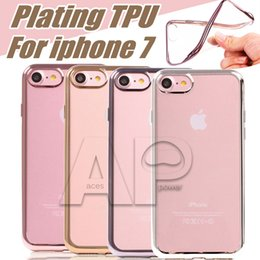 Wholesale Iphone Covers Gold Crystal - For Iphone7 Galaxy S8 Plus Case Ultra Thin Clear Crystal Rubber Plating TPU Soft Mobile Phone Case Cover For Iphone Samsung S7 Edge