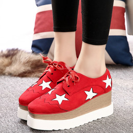 Wholesale lady star toe - Wholesale- 2016 Flatform Platform Lace Up Ladies Shoes Star Women Breathable Casual Shoes Suede Round Toe Flats Zapatos Mujer WW674