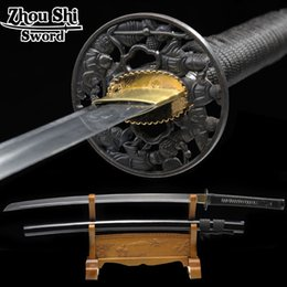 Wholesale Handmade Japanese Katana Swords - Handmade Japanese Samurai Sword Katana 1060 Carbon Steel Full Tang Blade Sharp-Custom Real Katana Swords Battle Ready