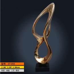 Wholesale Large Art Work - Modern abstract sculpture wind sculpture kinetic resin ribbon works of art home hotel KTV large conference business gifts