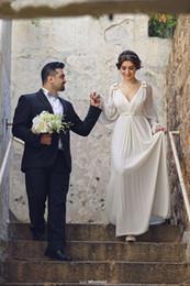 Wholesale Lace Wedding Dress Princess Cut - Saudi Arabia Style Wedding Dresses with Long Sleeve Cut bow Floor Length V Neck Elegant Chiffon Bridal Gowns 2016