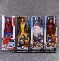 Wholesale Iron Spiderman - Avengers PVC Action Figures Marvel Heros 30cm Iron Man Spiderman Captain America Ultron Wolverine Figure Toys 7 Styles OOA2981