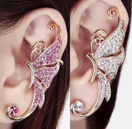 Wholesale Silver Butterfly Ear Cuff - Fashion Womens Rhinestone Crystal Butterfly Earrings Ear Cuffs Clip on Earring Pendientes Earcuff Ear Cuff Non-piercing Earrings Jewelry