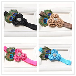 Wholesale Wholesale Peacock Silk Flower - Baby Girls Headbands Kids Girl 3D Rose Flower Headband 2017 Infant Princess Peacock Feather Headband Children Hair Accessories Photo Props