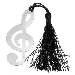 Wholesale Novelty Wedding Gifts - Wholesale- New Music Note With Tassels Alloy Bookmark Novelty Ducument Book Marker Label Stationery Wedding Baby Shower Party Favors Gift