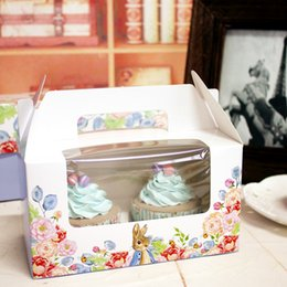 Wholesale Cupcake Portable Box - Purple rabbit decoration cupcake box hand portable muffin cake boxes cookie cake packing box party supply favors gift boxes