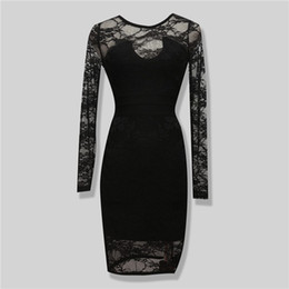 Wholesale Vintage Sheath Dress Xs - Womens Fashion Black Long Sleeve Sexy See Through Lace Party Evening Bandage Dress 2 Pieces
