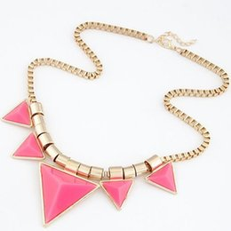 Wholesale Fast Bib - 2016 Fashion Bohemia Style Womens Unique Jewelry Gold Metal Triangle Gems Bib Necklace & Pendants Chain Fast Shipping